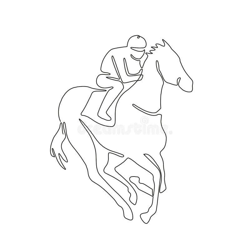 骑师赛马实线 库存例证