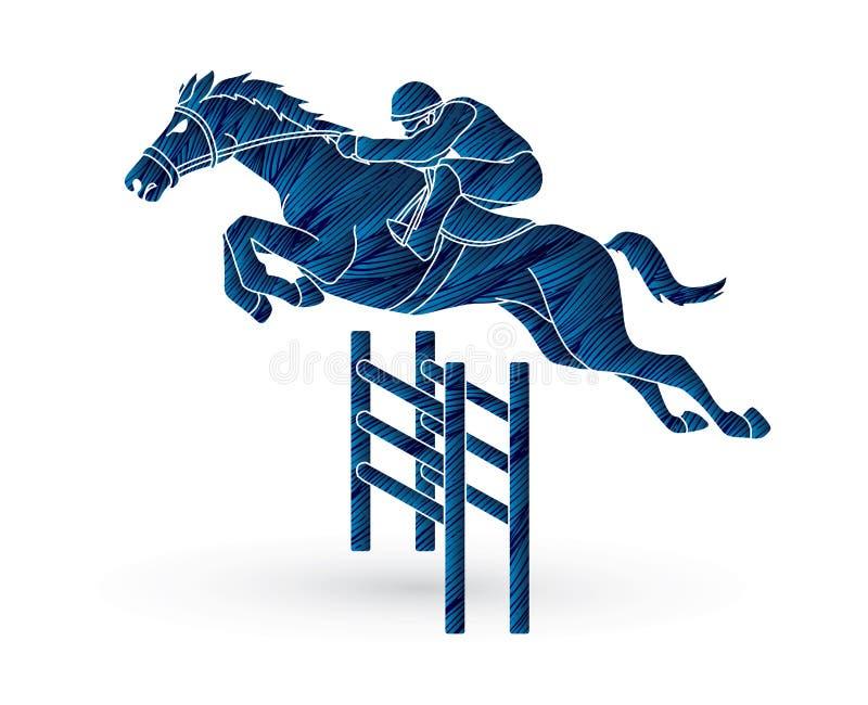 骑师骑乘马,水管赛跑 向量例证
