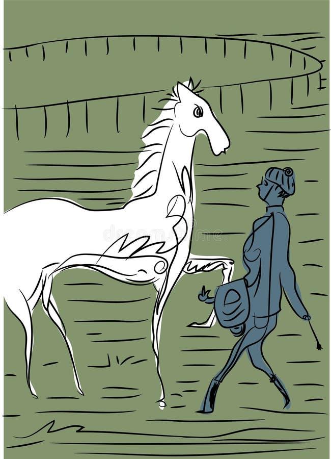 骑手、马和骑师 向量例证