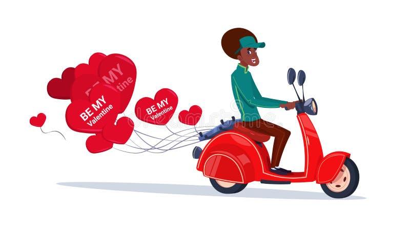 骑有心形的气球愉快的情人节概念的非裔美国人的妇女减速火箭的马达自行车 库存例证