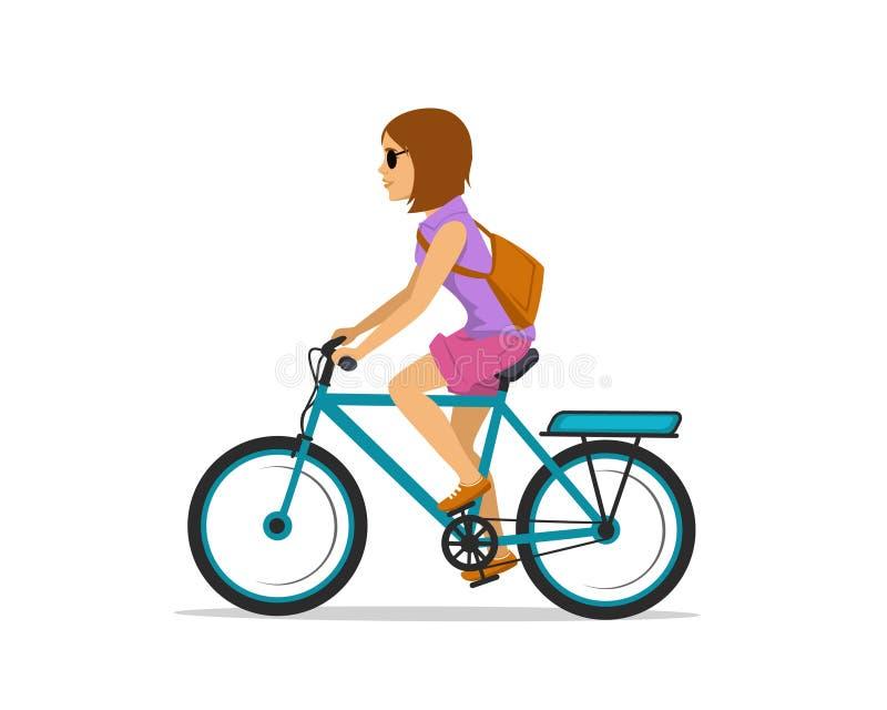 骑电城市自行车的妇女 图库摄影