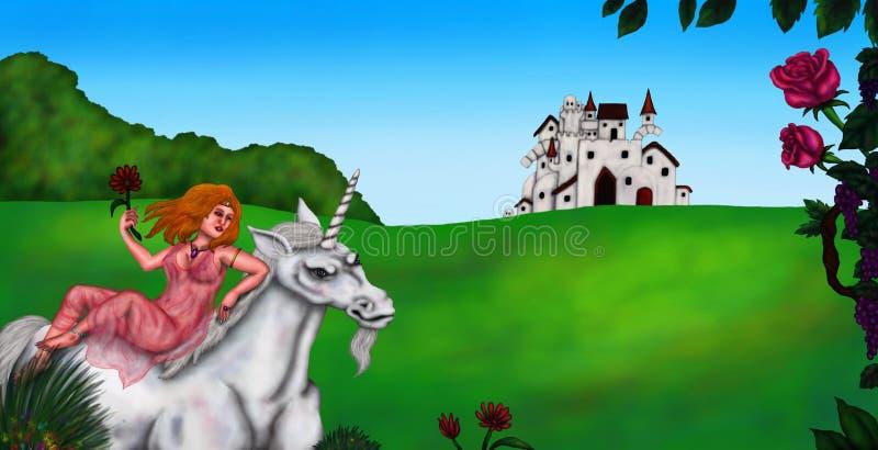 骑着白色独角兽的公主 免版税库存图片