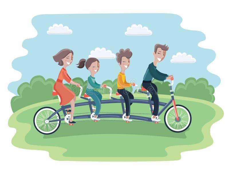 骑纵排自行车的家庭,被隔绝 库存例证