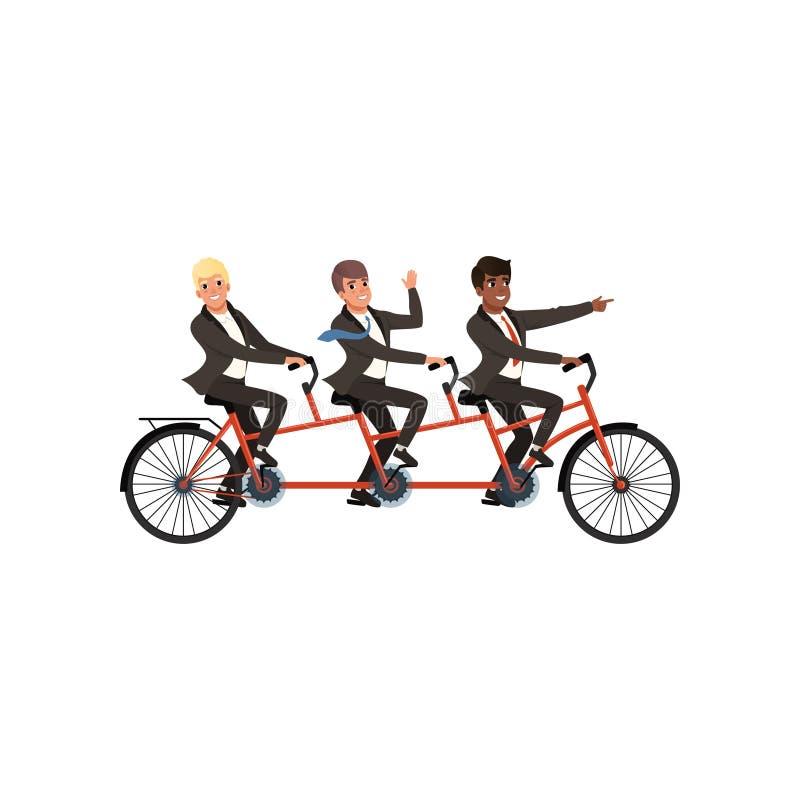 骑纵排自行车的黑经典衣服的三个快乐的人 商务伙伴,队工作 动画片人字符 皇族释放例证
