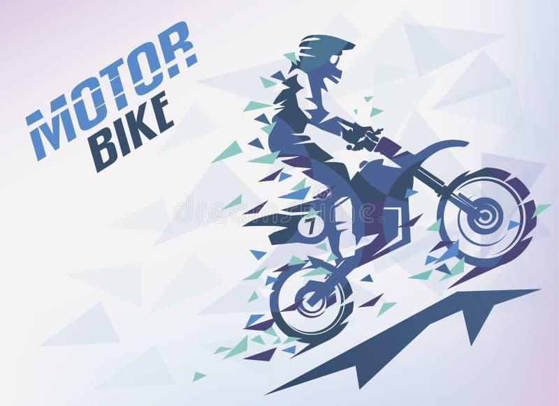 骑自行车与三角藤条,摩托车越野赛被传统化的背景 向量例证