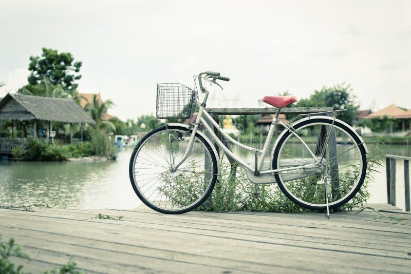 骑自行车与风景安静在庭院里 葡萄酒口气 免版税库存照片