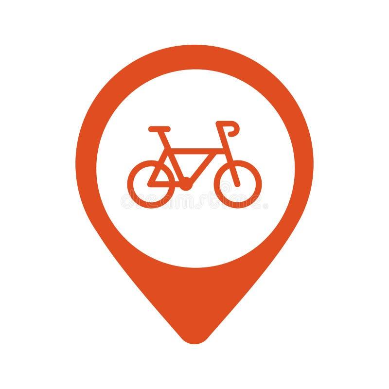 骑自行车停车处地图在白色背景的尖象 向量 库存例证