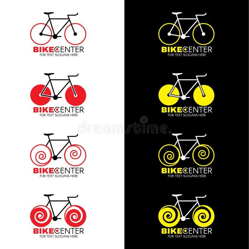 骑自行车商标4样式和红色黄色颜色口气传染媒介设计 皇族释放例证