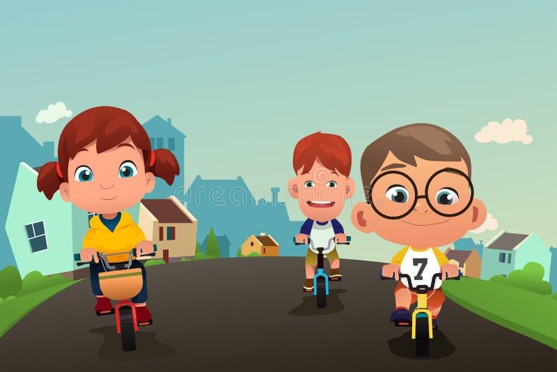 骑自行车在街道上的愉快的孩子 库存例证