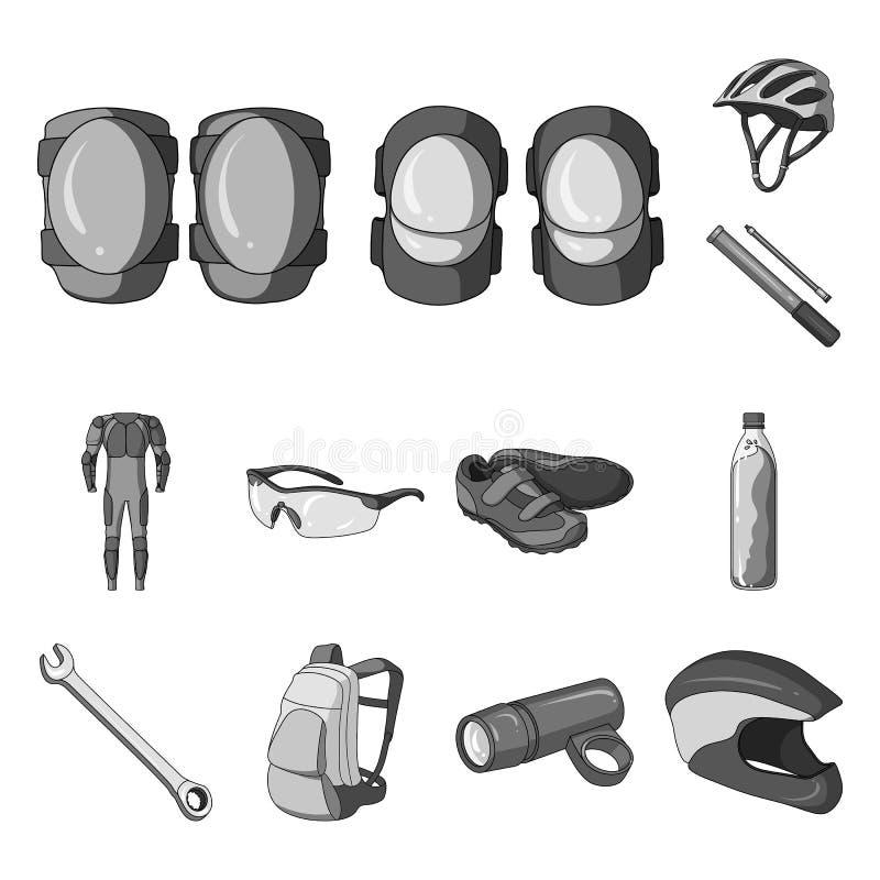 骑自行车在集合汇集的成套装备单色象的设计 自行车和工具导航标志储蓄网例证 皇族释放例证