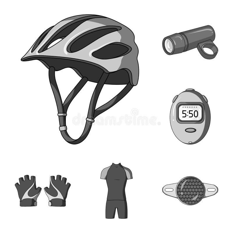 骑自行车在集合汇集的成套装备单色象的设计 自行车和工具导航标志储蓄网例证 库存例证