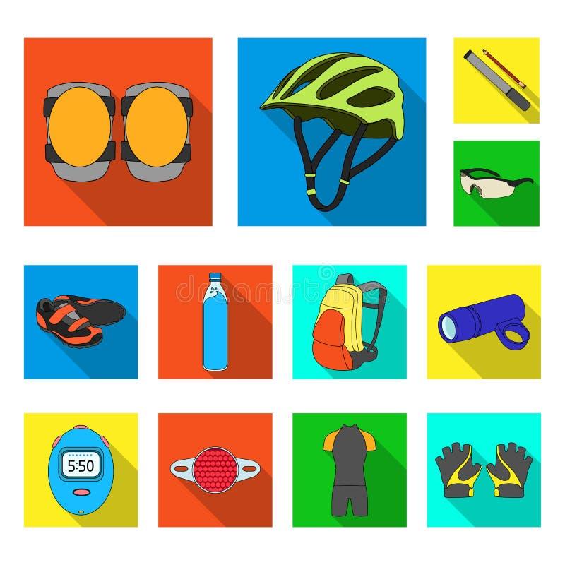 骑自行车在集合汇集的成套装备平的象的设计 自行车和工具导航标志储蓄网例证 向量例证