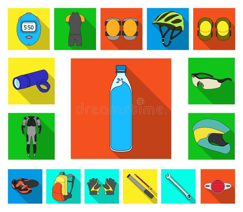 骑自行车在集合汇集的成套装备平的象的设计 自行车和工具导航标志储蓄网例证 库存例证