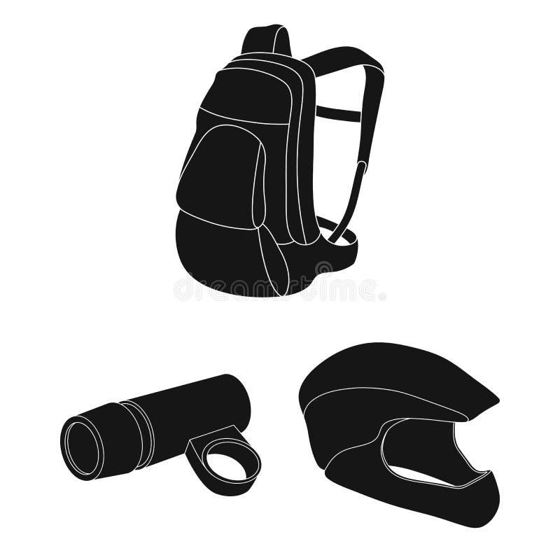 骑自行车在集合汇集的成套装备黑象的设计 自行车和工具导航标志储蓄网例证 向量例证