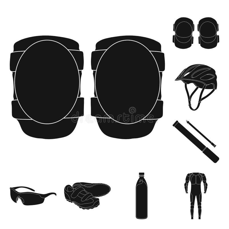 骑自行车在集合汇集的成套装备黑象的设计 自行车和工具导航标志储蓄网例证 皇族释放例证