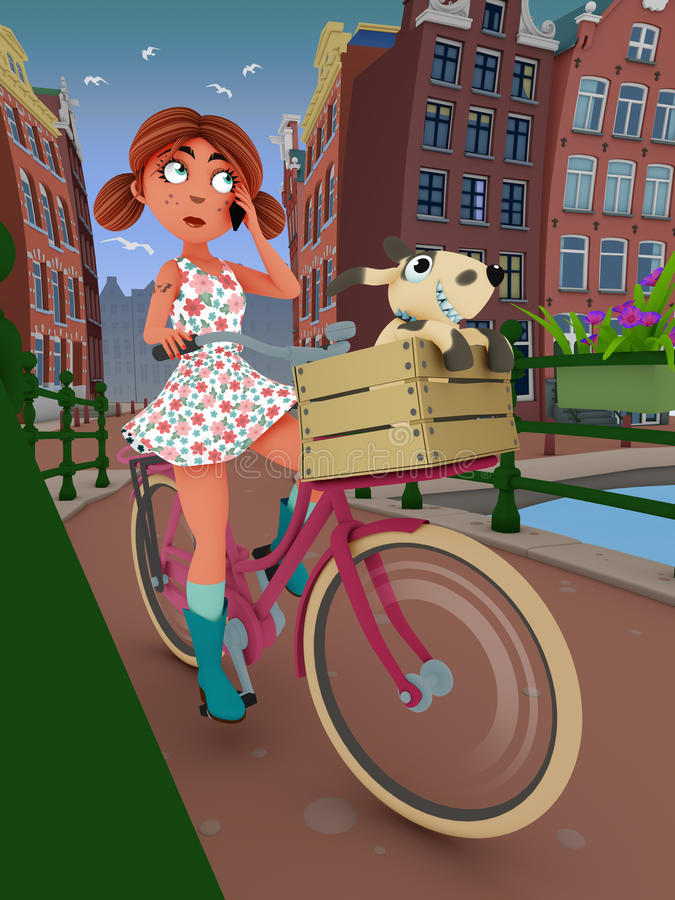 骑自行车女孩 库存照片