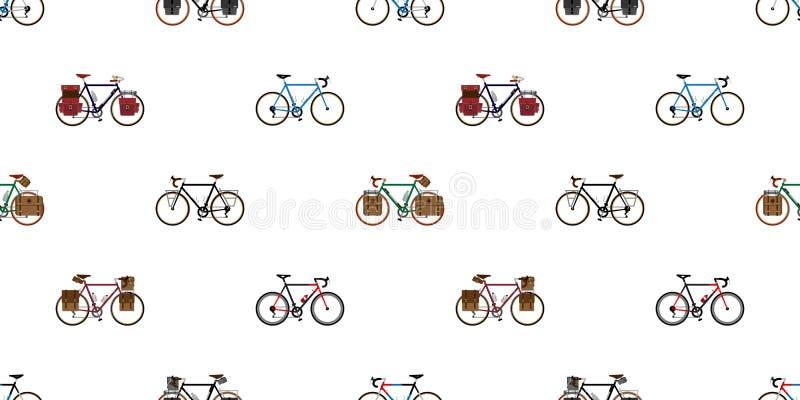 骑自行车循环被隔绝的葡萄酒墙纸背景例证图表的无缝的样式传染媒介 向量例证