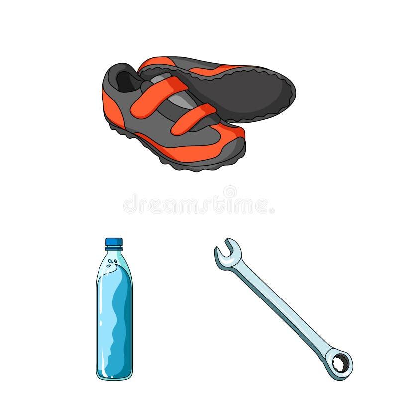 骑自行车成套装备在集合汇集的动画片象的设计 自行车和工具导航标志储蓄网例证 向量例证