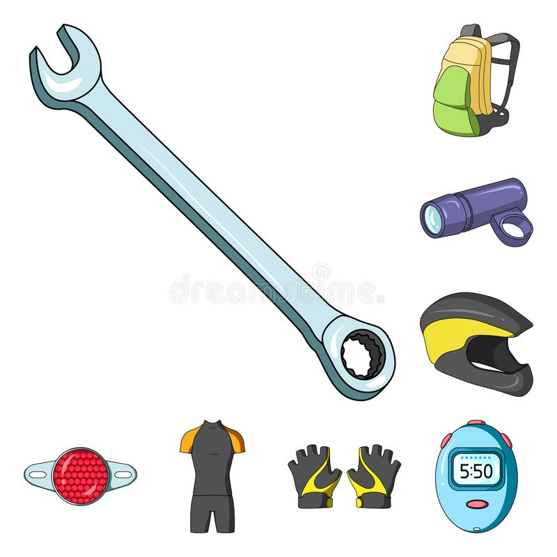 骑自行车成套装备在集合汇集的动画片象的设计 自行车和工具导航标志储蓄网例证 库存例证
