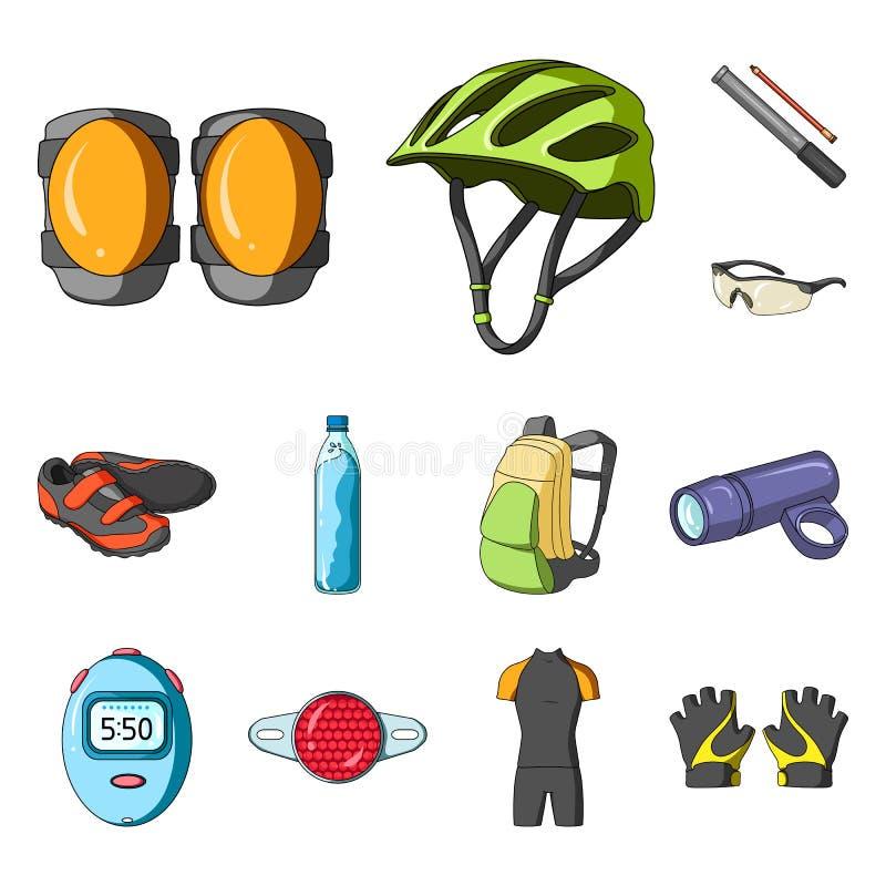 骑自行车成套装备在集合汇集的动画片象的设计 自行车和工具导航标志储蓄网例证 皇族释放例证