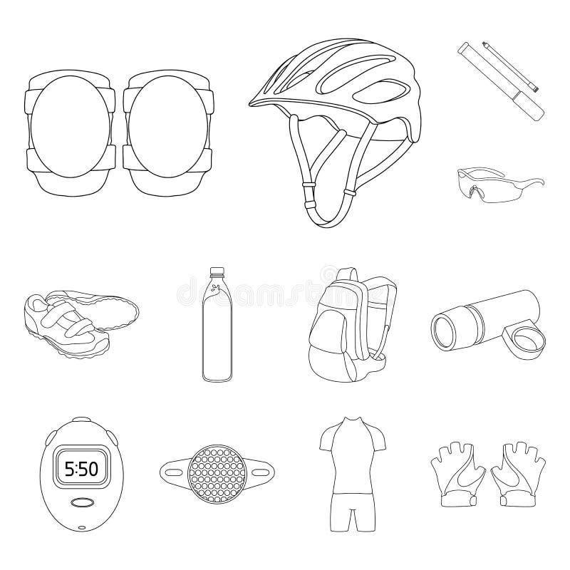 骑自行车成套装备在集合汇集的概述象的设计 自行车和工具导航标志储蓄网例证 库存例证