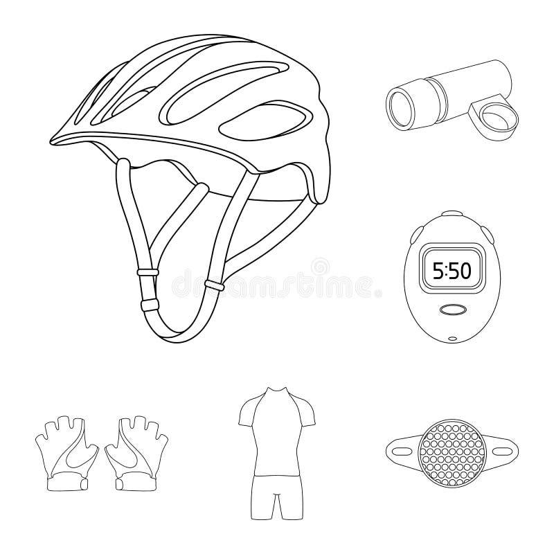 骑自行车成套装备在集合汇集的概述象的设计 自行车和工具导航标志储蓄网例证 向量例证