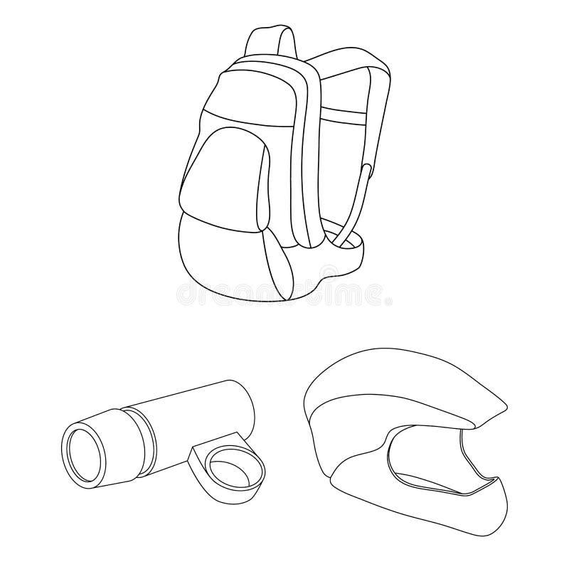 骑自行车成套装备在集合汇集的概述象的设计 自行车和工具导航标志储蓄网例证 皇族释放例证