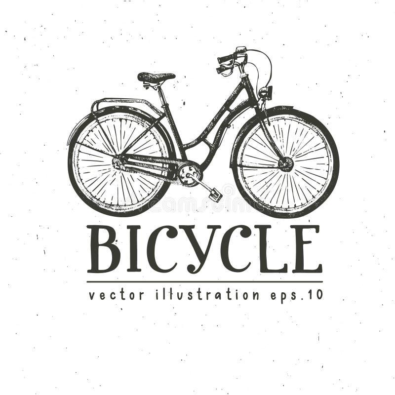 骑自行车手拉的传染媒介剪影,在白色背景,设计的葡萄酒装饰样式的墨水例证老自行车 库存例证