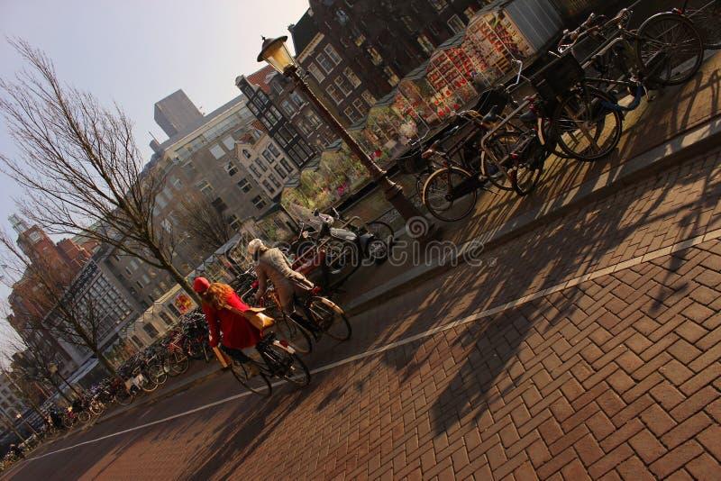 骑自行车沿运河的两名妇女在日出在阿姆斯特丹 库存图片