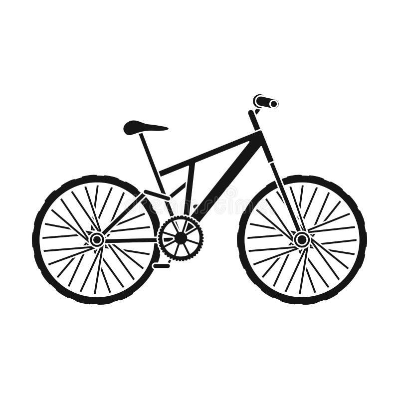骑自行车浅骑自行车的骑自行车者深度域重点森林现有量山的透视图 循环下坡从山 另外自行车唯一象在黑样式传染媒介标志库存 向量例证