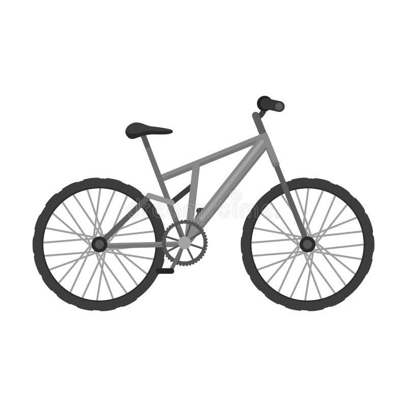 骑自行车浅骑自行车的骑自行车者深度域重点森林现有量山的透视图 循环下坡从山 另外自行车唯一象在单色样式传染媒介标志库存 向量例证