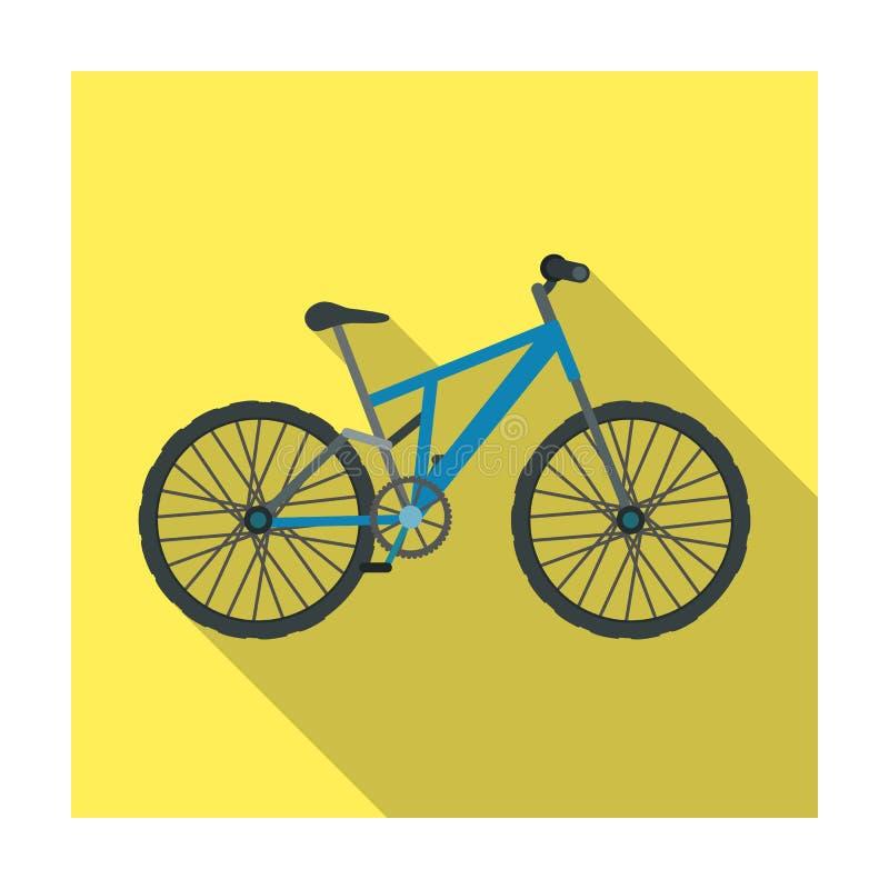 骑自行车浅骑自行车的骑自行车者深度域重点森林现有量山的透视图 循环下坡从山 另外自行车唯一象在平的样式传染媒介标志库存 库存例证