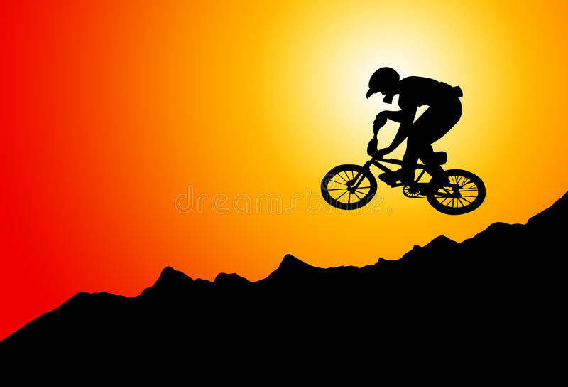 骑自行车浅骑自行车的骑自行车者深度域重点森林现有量山的透视图 向量例证