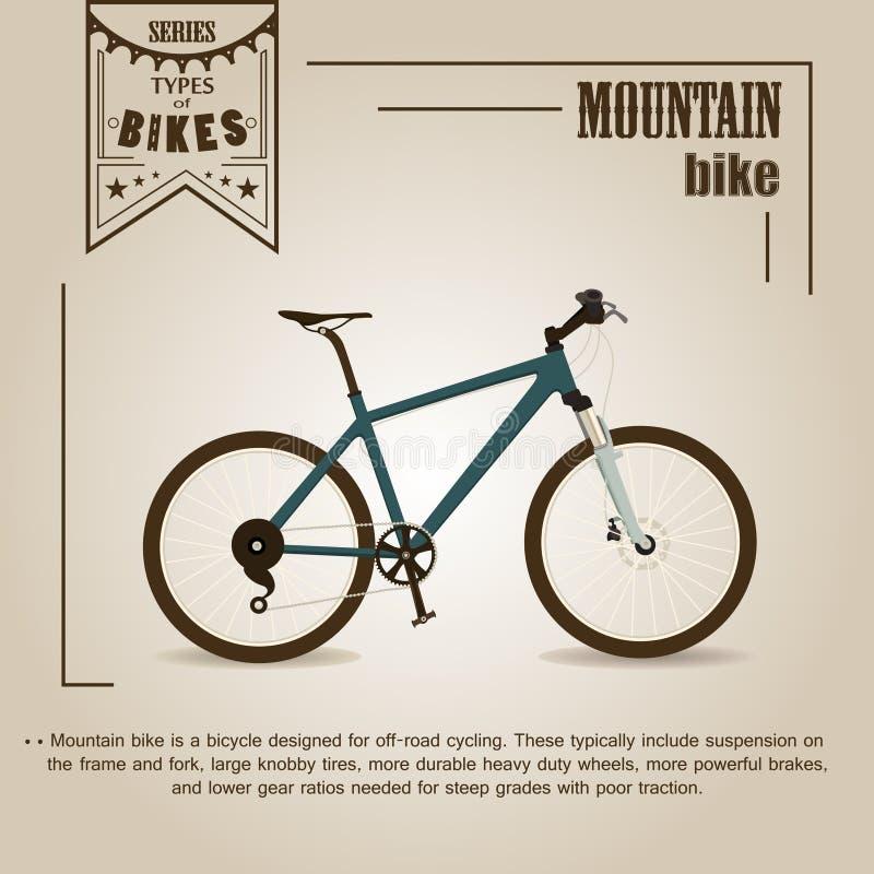 骑自行车浅骑自行车的骑自行车者深度域重点森林现有量山的透视图 库存例证
