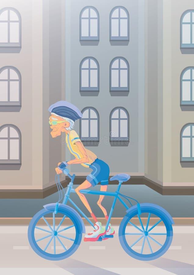 骑自行车的一个年长人在城市街道 在晚年的活跃生活方式和体育活动 也corel凹道例证向量 向量例证