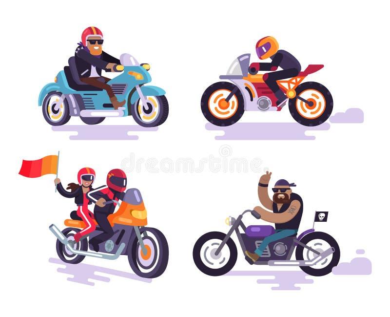骑自行车的人乘坐现代摩托车,集合动力化的自行车 皇族释放例证