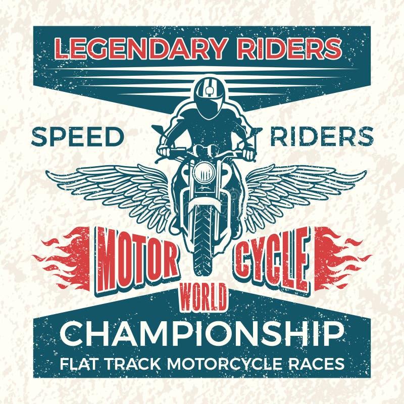 骑自行车的人俱乐部的葡萄酒海报  传染媒介难看的东西摩托车的旅行例证 皇族释放例证