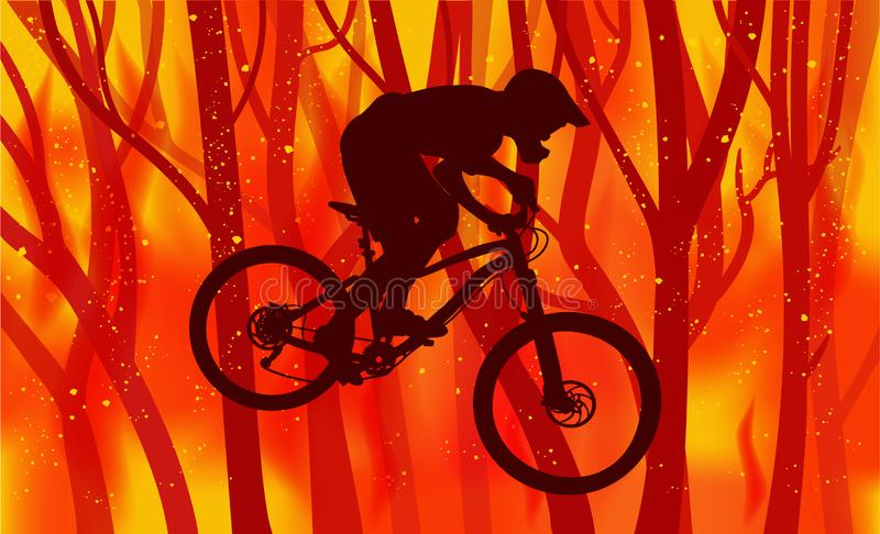 骑自行车的人和燃烧的森林的抽象图象 库存例证