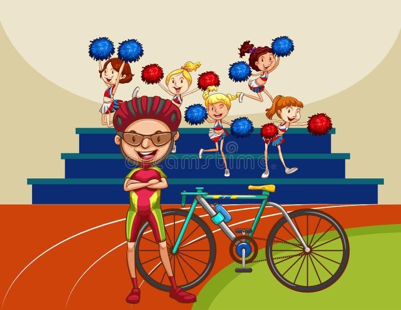 Download 骑自行车的人和自行车在领域 向量例证. 插画 包括有 轮子, 夹子, 跟踪, 运动员, 艺术, 图象, 人员 - 59108236