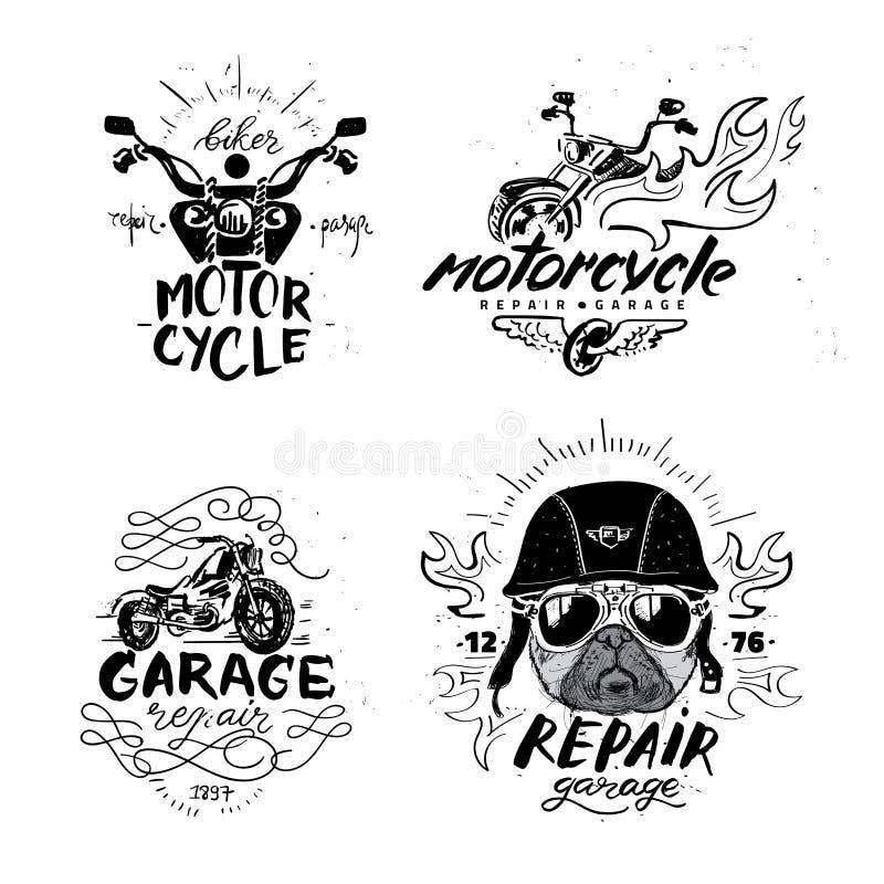 骑自行车的人哈巴狗狗 套葡萄酒摩托车象征,标签,徽章, 向量例证