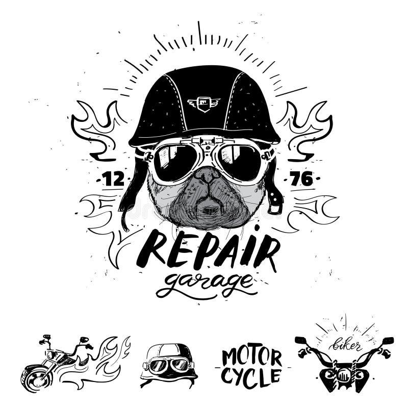 骑自行车的人哈巴狗狗 套葡萄酒摩托车象征,标签,徽章, 皇族释放例证