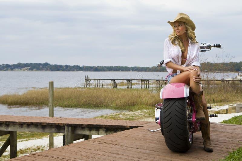骑自行车的人小鸡 免版税库存照片