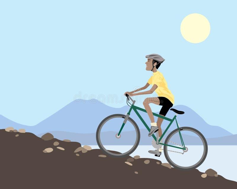 骑自行车的人山 向量例证