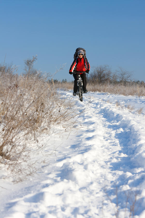 骑自行车的人微笑的雪 库存图片