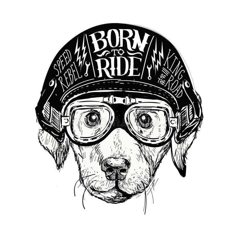 骑自行车的人狗 套葡萄酒摩托车象征,标签、徽章、商标和设计元素 单色样式 向量例证