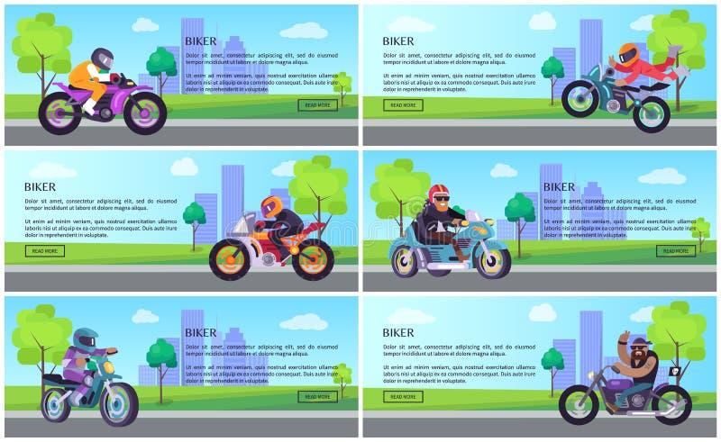 骑自行车的人自行车工作天网被设置的Onine海报,电视节目预告 向量例证