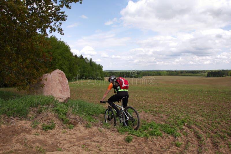 骑自行车的人骑马在耕地 库存照片