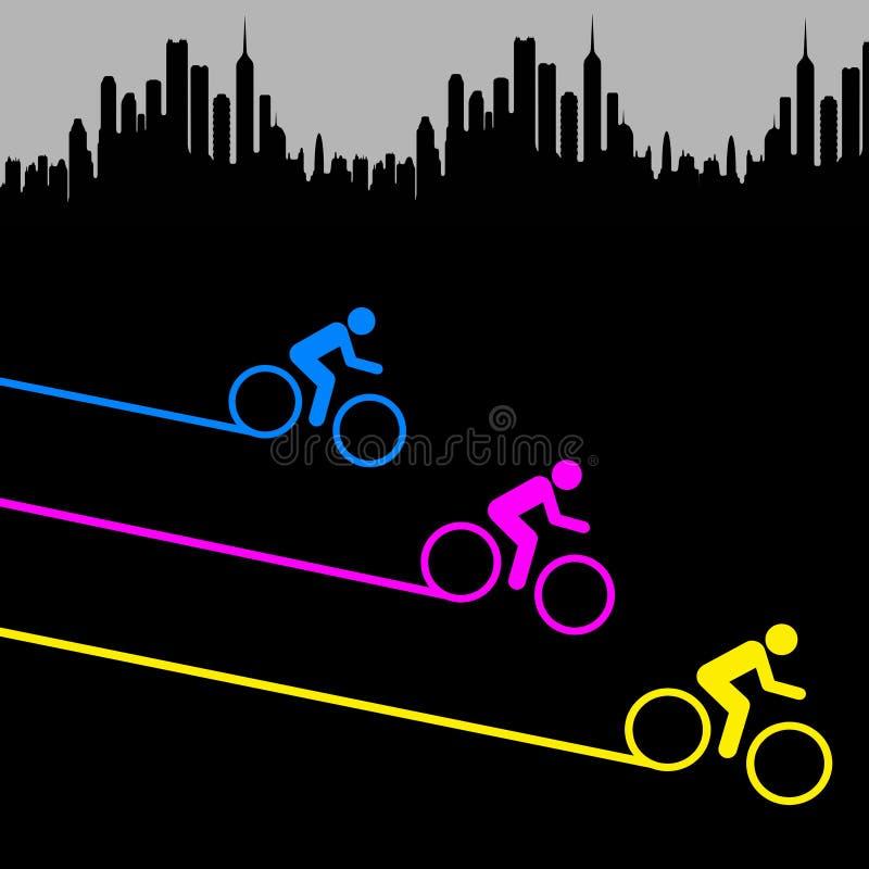 骑自行车的城市 库存例证