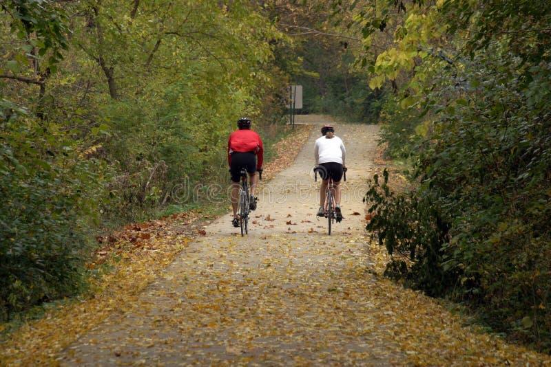 骑自行车的夫妇 库存照片