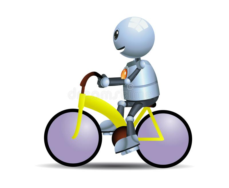 骑自行车的小的机器人 向量例证